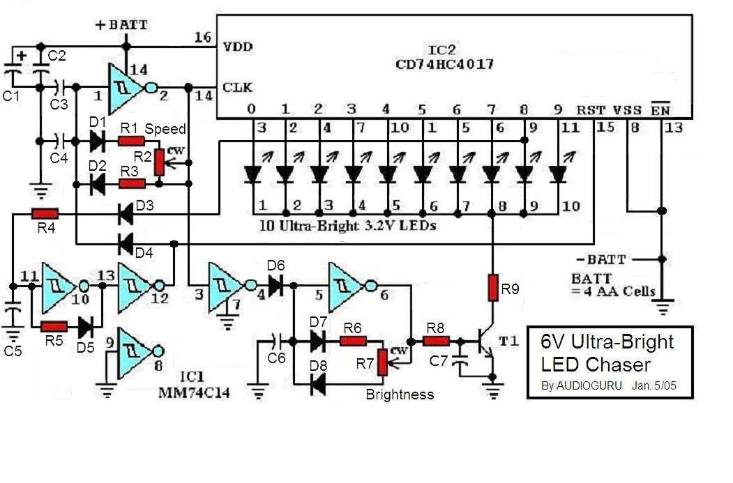 How To Build 6v Ultra Bright Led Chaser Circuit Diagram