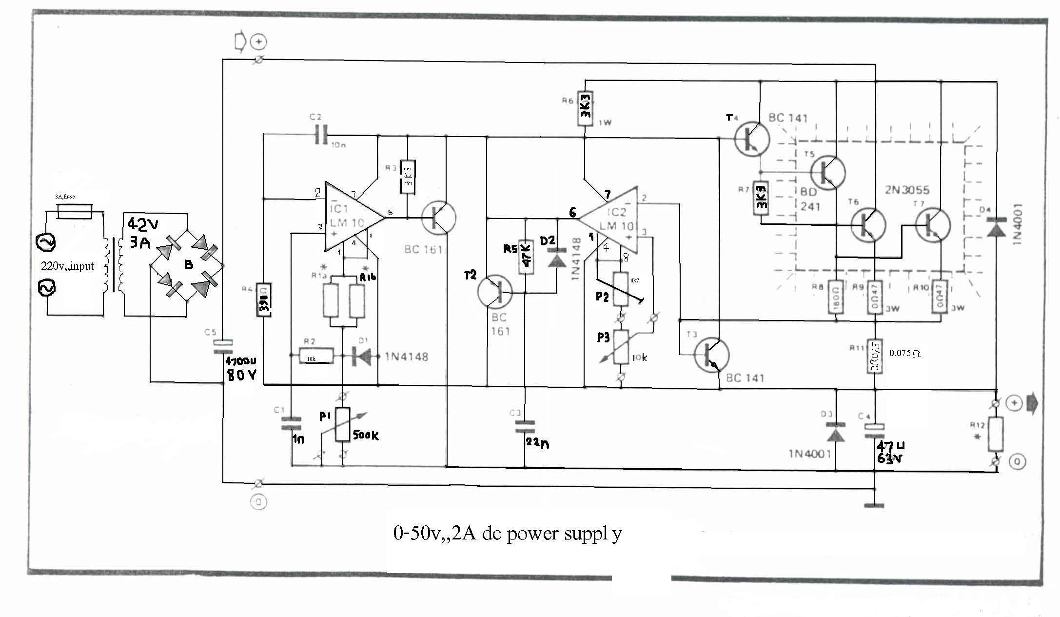 How to build 0-50V 2A Bench power supply. Circuit diagram