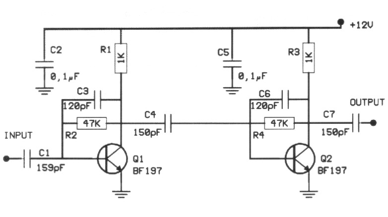 how to build 20db vhf amplifier  circuit diagram